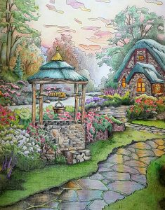 "Coloring of Thomas Kinkade's Coloring Book - ""Make a Wish Cottage"""
