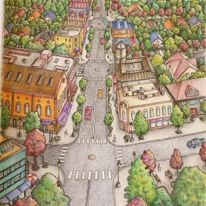 Coloring of Debbie Macomber's Come Home to Color - Blossom Street by Betty Hung
