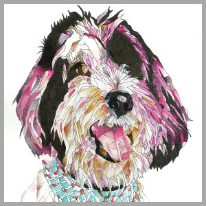 Mosaic color project - illustrated and colored by Betty Hung's dog Dexter, coloured pink to support October Breast Cancer Awareness