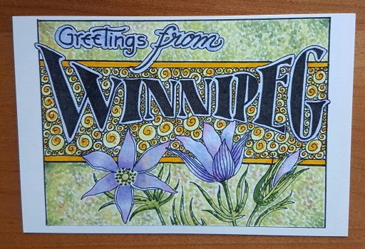 Postcard using pointillism technique for background