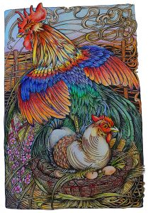 Maniac Botanic Rooster colored by Betty Hung
