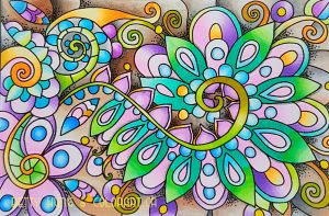 Chameleon coloring card colored by Betty Hung
