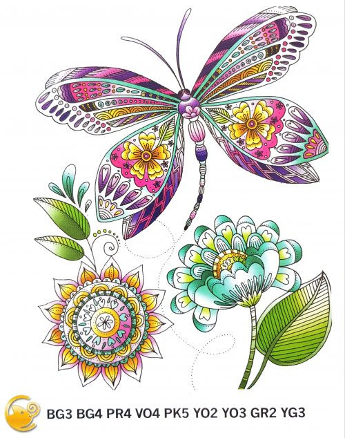 Example of the Butterfly page in Lori's Art Garden coloring book