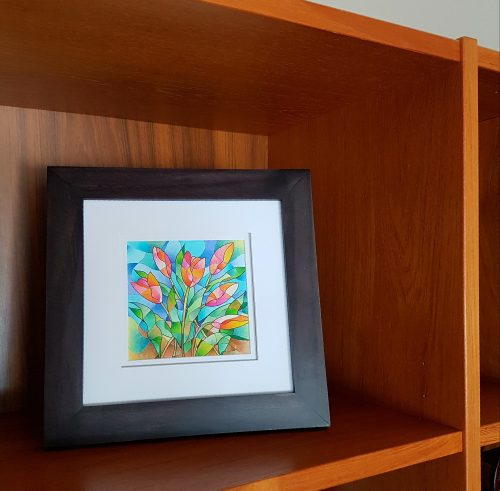 Tulip coloring card framed display by Betty Hung