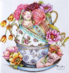 """Little piggies"" from Menuet de Bonheur by Kanoko Egosa, colored by Betty Hung - colorart.ca"