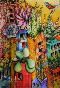 Town Daydreams by Monique Day-Wilde, colored by Betty Hung - colorart.ca
