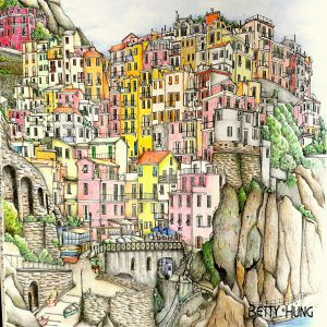 Coloring of Steve MacDonald's Manarola, La Spezia, Italy in the Fantastic Cities Coloring Book by Betty Hung