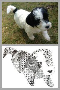 Zentangle example of Dexter the dog
