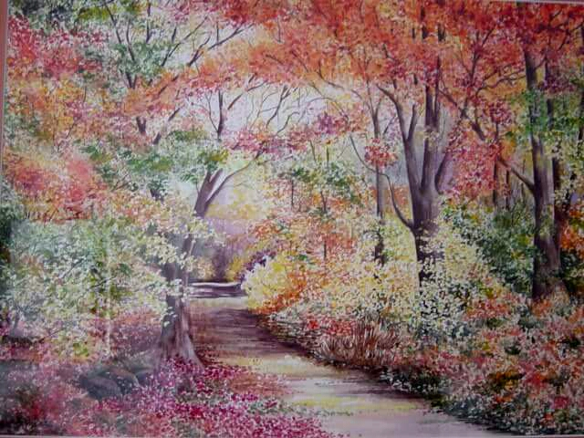 Enchanted Forest - watercolor by Betty Hung using pointillism