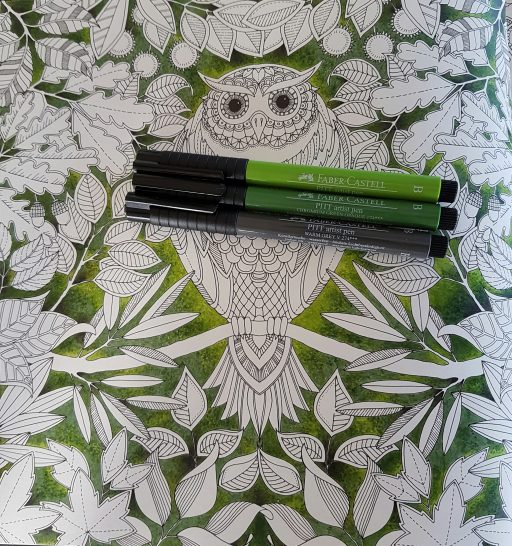 Owl page from Secret Garden - background using pointillism