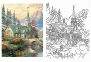 Sample page from Thomas Kinkade coloring book