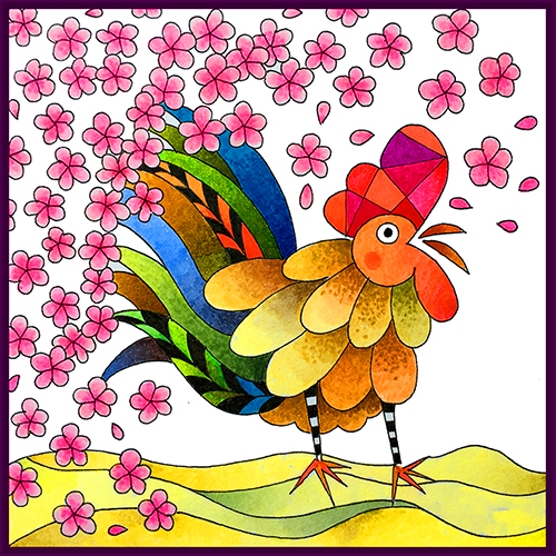 Lunar Year of the Rooster Coloring Card