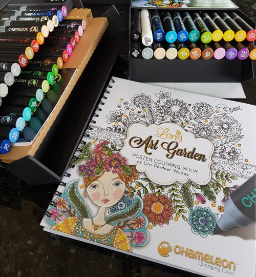 Picture of Lori's Art Garden coloring book with Chameleon pens