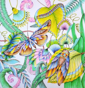 Completed coloring of Tropical World by Millie Marotta using Tombow dual brush pens and colored pencils