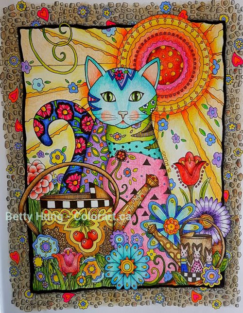 An example of warm colors from Creative Cats by Marjorie Sarnat