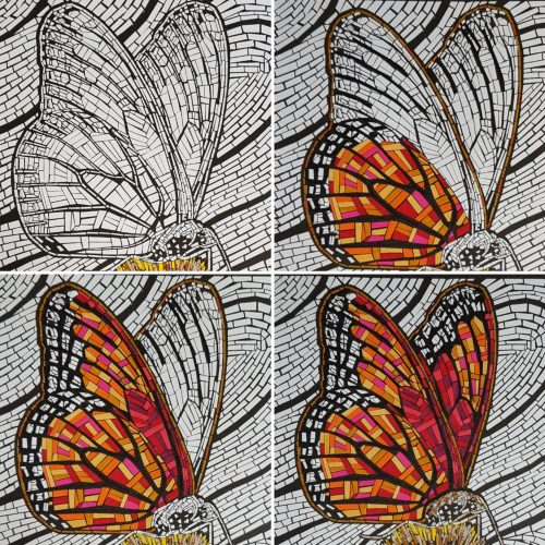 Demo showing how the shapes for the butterfly mosaic are altered