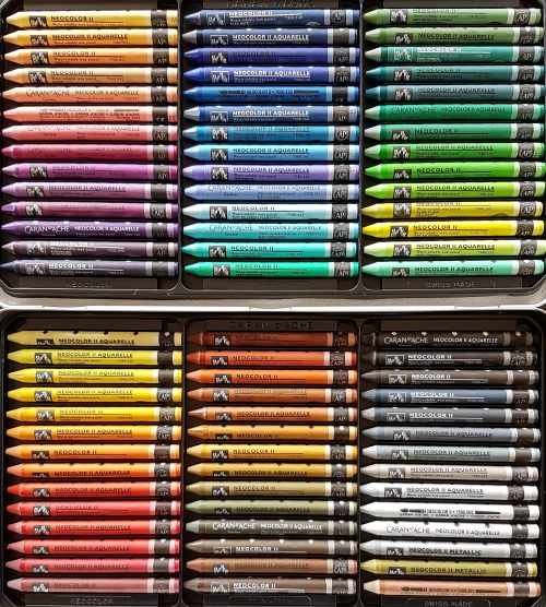 picture of a box of 84 Caran D'Ache Neocolor II