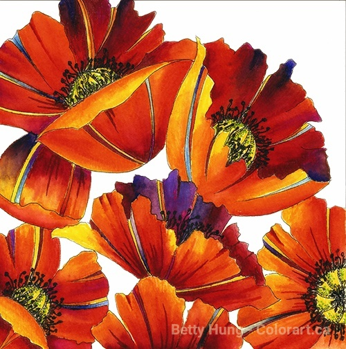 Glamorous Poppies using Stabilo 68 pens