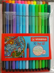 a set of 30 Stabilo pen 68