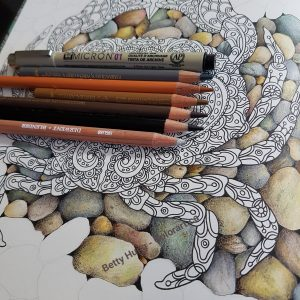 Picture of rock background progress shown with colored pencils