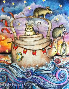 """Mice in a kettle"" from Daydreams by Hanna Karlzon colored by Betty Hung - colorart.ca"