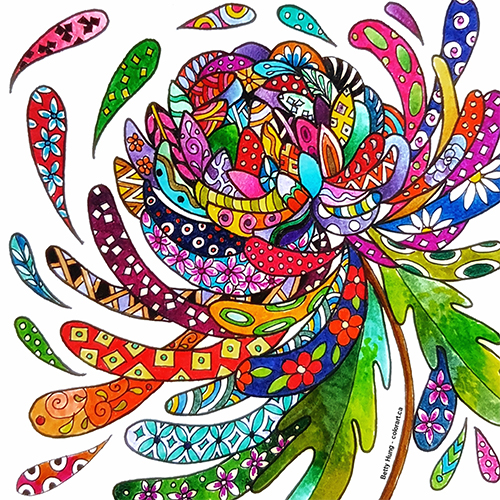 April 2018 Coloring Card Designed and colored by Betty Hung
