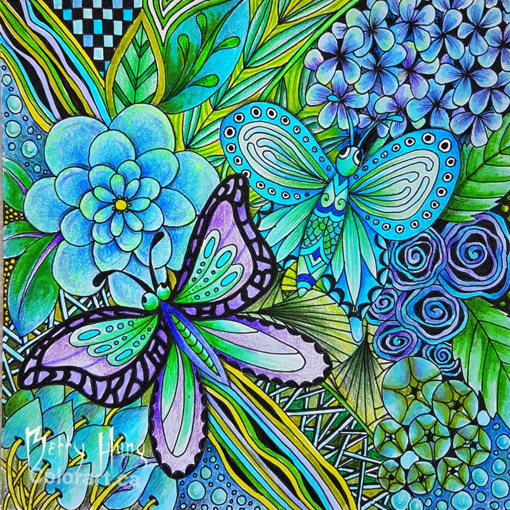 July 2018 Coloring Card designed and colored by Betty Hung - colorart.ca