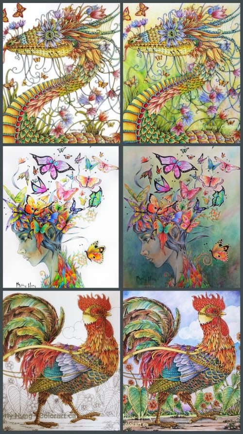 Collage of before and after background coloring by Betty Hung - colorart.ca