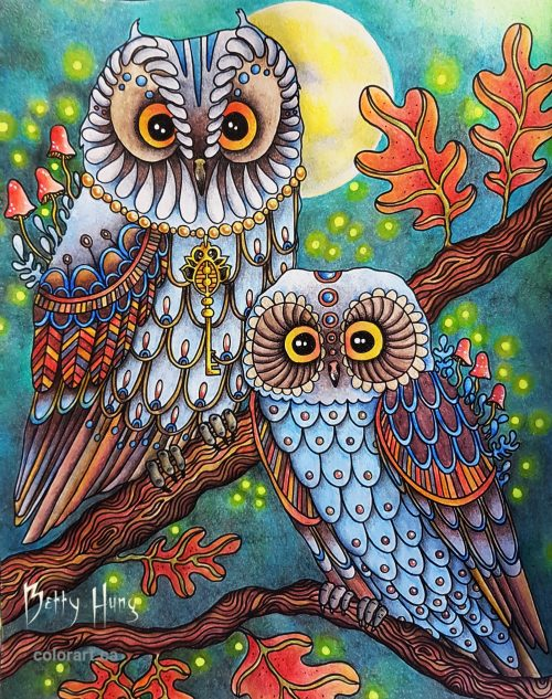 """Owls"" from Daydreams by Hanna Karlzon, colored by Betty Hung - colorart.ca"
