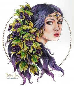 """Purple Girl"" from Magical Dawn by Hanna Karlzon, colored by Betty Hung - colorart.ca"