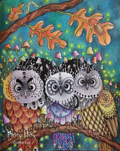 """Baby Owls"" from Daydreams by Hanna Karlzon, colored by Betty Hung - colorart.ca"