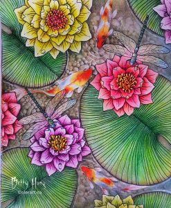 """Lily Pond with Koi"" from Daydreams by Hanna Karlzon, colored by Betty Hung - colorart.ca"