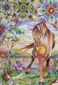 """Stained Glass Horse"" from Rubycharm Color Collection by Susan Carlson, colored by Betty Hung - colorart.ca"