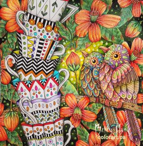 """Birds & Tea Cups"" from Fairy Tales by Emelie Lidehall Oberg colored by Betty Hung - Colorart.ca"