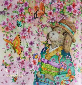 """Cherry Blossoms"" from Menuet de bonjour by Kanoko Egusa colored by Betty Hung - colorart.ca"