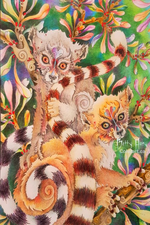 Lemurs from Ruby Charm Colors Collection by Susan Carlson colored by Betty Hung - colorart.ca