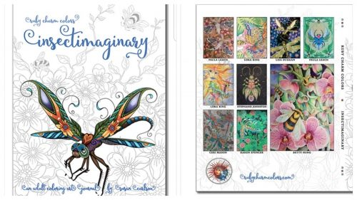 Book cover of Insectimaginery adult coloring book by Ruby Charm Colors