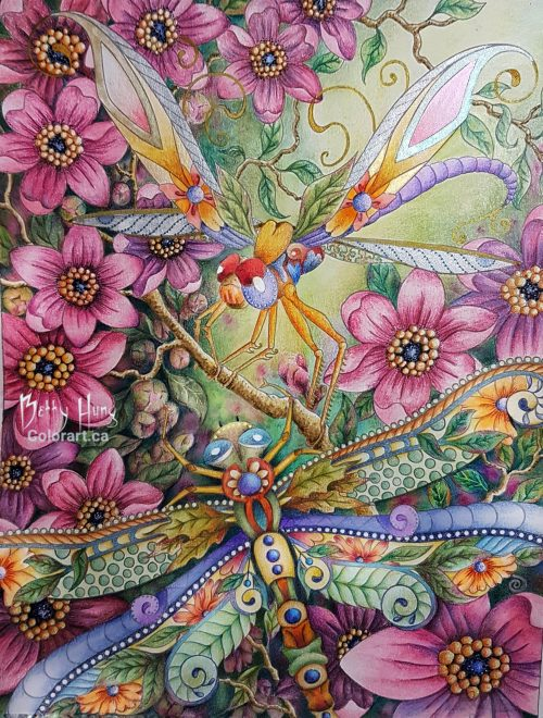 Streamer Dragonflies from Insectimaginery by Ruby Charm Colors colored by Betty Hung