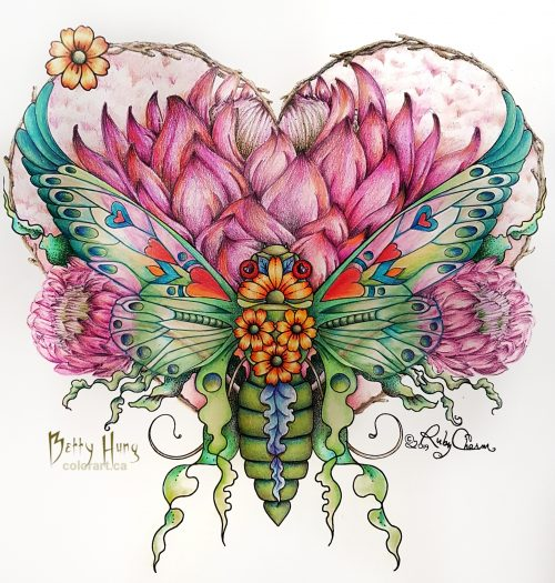 Valentine's Cicada from Insectimaginery by Ruby Charm Colors - colored by Betty Hung, colorart.ca
