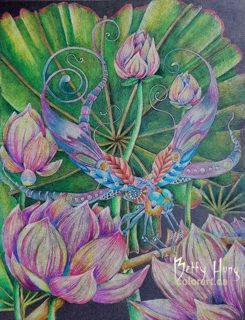 Lotus Streamer Dragonfly from Insectimaginery by Ruby Charm Colors - colored by Betty Hung, colorart.ca