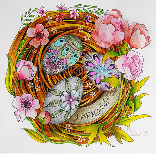 April 2019 Coloring card designed and colored by Betty Hung, colorart.ca