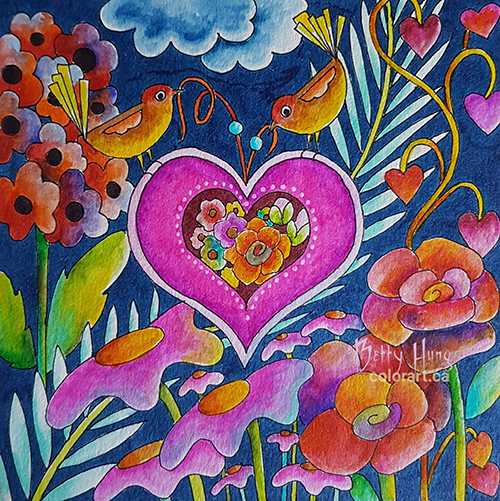 Feb 2019 Coloring card designed and colored by Betty Hung, colorart.ca