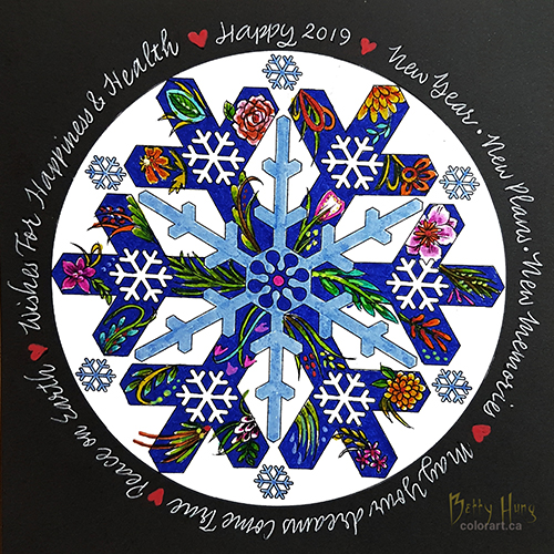 Jan 2019 Coloring Card designed and colored by Betty Hung, colorart.ca