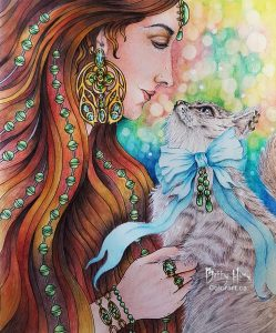 """Lady & the cat"" from Jewelry Box by Hanna Karlzon, colored by Betty Hung - colorart.ca"