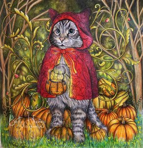 Halloween kitty by Kanoko Egusa, colored by Betty Hung - colorart.ca