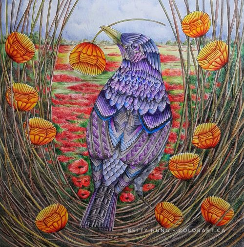Beautiful Birds and Treetop Treasures by Millie Marotta, colored by Betty Hung - colorart.ca
