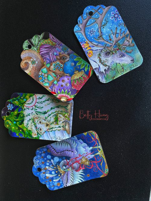 Gift tags by Susan Carlson of Rubycharmcolors, colored by Betty Hung - colorart.ca