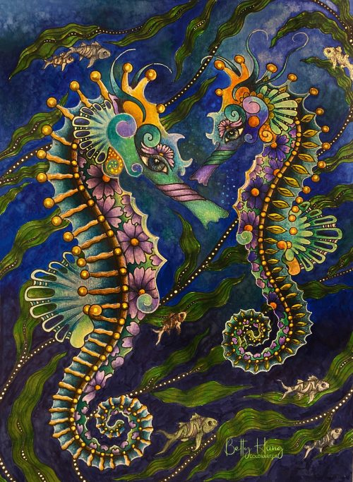 Seahorses from Oceanimaginary by Susan Carlson Rubycharmcolors, colored by Betty Hung - colorart.ca