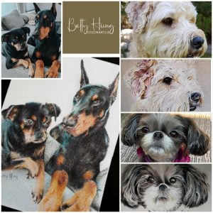 Dog portraits by Betty Hung - colorart.ca